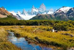 Beautiful nature landscape in Patagonia, Argentina. Beautiful nature landscape with Mt Fitz Roy in Los Glaciares National Park, Patagonia, Argentina Stock Photos