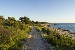 Beautiful nature and landscape photo of coast and road at Adriatic Sea in Croatia. Beautiful nature and landscape photo of coast and road at Adriatic Sea in stock images