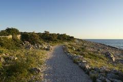 Beautiful nature and landscape photo of coast and road at Adriatic Sea in Croatia. Beautiful nature and landscape photo of coast and road at Adriatic Sea in royalty free stock image