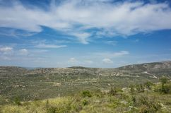 Beautiful nature and landscape photo of Dalmatia in Croatia Europe. Nice sunny spring day with blue sky and mountains at horizon. Calm, peaceful, joyful and royalty free stock image
