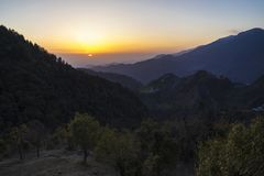 Beautiful nature and landscape photo of sunset in the Himalayas of Dharamsala India. Beautiful nature and landscape photo of dusk in the Himalayas. Nice colorful royalty free stock photos