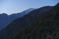 Beautiful nature and landscape photo of sunset in the Himalayas of Dharamsala India. Beautiful nature and landscape photo of dusk in the Himalayas. Nice colorful stock photos