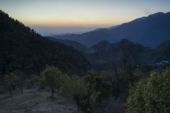 Beautiful nature and landscape photo of sunset in the Himalayas of Dharamsala India. Beautiful nature and landscape photo of dusk in the Himalayas. Nice colorful royalty free stock photography
