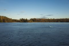 Beautiful nature and landscape photo of spring evening and ice lake in Sweden. Beautiful nature and landscape photo of spring evening in Sweden Scandinavia royalty free stock images