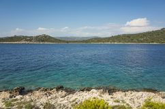 Beautiful nature and landscape photo of sunny summer day at Adriatic Sea in Dalmatia, Croatia, Europe. Nice outdoors at Mediterranean coast. Calm, peaceful and Royalty Free Stock Image