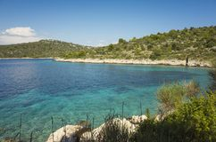 Beautiful nature and landscape photo of sunny summer day at Adriatic Sea in Dalmatia, Croatia, Europe. Nice outdoors at Mediterranean coast. Calm, peaceful and Stock Images