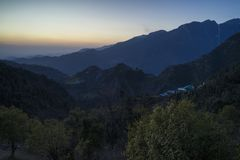 Beautiful nature and landscape photo of sunset in the Himalayas of Dharamsala India. Beautiful nature and landscape photo of dusk in the Himalayas. Nice colorful royalty free stock photo