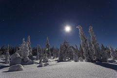 Beautiful nature and landscape photo of Sweden Scandinavia at cold winter night Stock Images