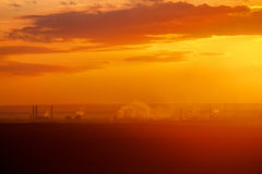 Beautiful nature landscape. Silhouette of Industrial factory Royalty Free Stock Photos