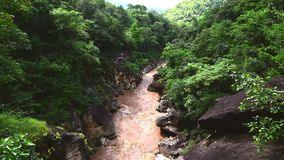 Beautiful nature with large rock hill mountain and river at Obluang National Park, Chiangmai, Thailand.