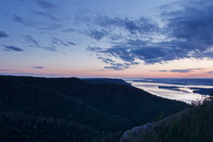 Beautiful nature mountain landscape. Cloudy twilight over river Royalty Free Stock Photography