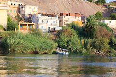Nile River Africa. Beautiful nature of Nile River at Aswan, Egypt Royalty Free Stock Photos