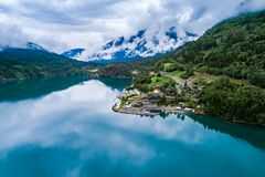 Beautiful Nature Norway Aerial view of the campsite to relax. Beautiful Nature Norway natural landscape. Aerial view of the campsite to relax. Family vacation royalty free stock photography