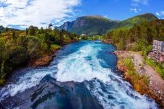 Beautiful Nature Norway Lovatnet lake. Stock Images