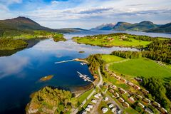 Beautiful Nature Norway Aerial view of the campsite to relax. Beautiful Nature Norway natural landscape. Aerial view of the campsite to relax. Family vacation stock images