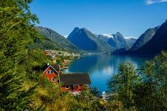 Beautiful Nature Norway natural landscape. Amazing red fishing house on fjord. Beautiful nature with blue sky. Beautiful Nature Norway natural landscape. Amazing royalty free stock photography