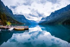 Lovatnet lake Beautiful Nature Norway. Royalty Free Stock Photography