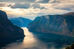 Beautiful Nature Norway Stegastein Lookout stock images