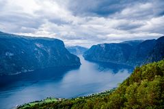 Beautiful Nature Norway Stegastein Lookout. Stock Photos