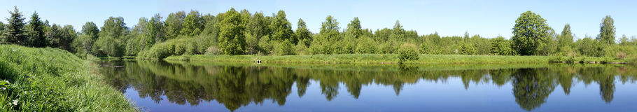Beautiful nature, panoramic river royalty free stock image