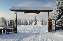 Beautiful nature park entrance in winter Stock Photos