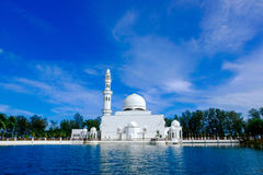 The beautiful nature and reflection of Tengku Tengah Zaharah Mosque. Most iconic floating mosque located at Terengganu Malaysia Royalty Free Stock Image