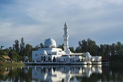 Tengku Tengah Zaharah Mosque, most iconic floating mosque located at Terengganu Malaysia. Royalty Free Stock Photo