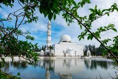 Tengku Tengah Zaharah Mosque, most iconic floating mosque located at Terengganu Malaysia. Royalty Free Stock Photography