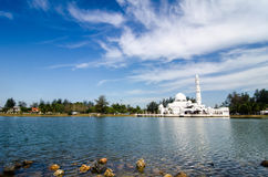 Beautiful nature and reflection on water, most iconic floating mosque Stock Images