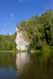 Beautiful nature on the river. Beautiful summer landscape on the river Chusovaya, Russia Royalty Free Stock Photo