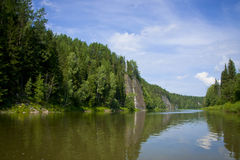 Beautiful nature on the river. Beautiful summer landscape on the river Chusovaya, Russia Stock Image