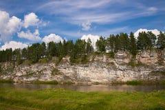 Beautiful nature on the river. Beautiful landscape on the river Chusovaya, Russia Stock Image
