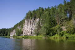 Beautiful nature on the river. Beautiful landscape on the river Chusovaya, Russia Stock Photos