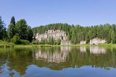 Beautiful nature on the river. Beautiful landscape on the river Chusovaya, Russia Stock Photography