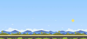 Beautiful nature scene with country road and hill for foreground.Clean spring amazing scenery. Vector illustration.Road with natur. E landscape , grass ,hill Royalty Free Stock Photo
