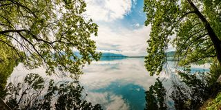 Beautiful Nature Scene Lake with trees touching the water stock image