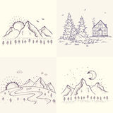 Beautiful nature set. Set with beautiful sketch with house and spruce, mountains with sun and moon. Hand drawn sketch. Stylish vector illustration Stock Images