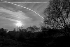 Beautiful nature, sky and sunset as black and white. stock images