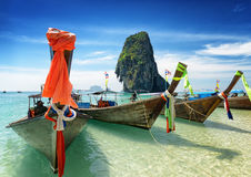 Thai boats on Phra Nang beach, Thailand Royalty Free Stock Photos
