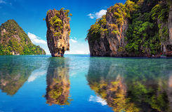Beautiful nature of Thailand. James Bond island reflection. Beautiful nature of Thailand. James Bond island reflects in water near Phuket stock image