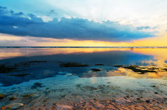 Tropical sunset at low tide Royalty Free Stock Image