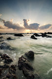 Beautiful nature of unique rocks formation at Pandak Beach located in Terengganu,Malaysia. Over stunning sunrise background.soft focus image due to long royalty free stock image