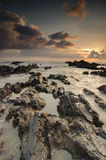 Beautiful nature of unique rocks formation at Pandak Beach located in Terengganu,Malaysia. Over stunning sunrise background.soft focus image due to long royalty free stock photos