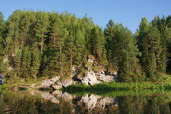 Beautiful nature of the Ural River Chusovaya. In the Perm region Royalty Free Stock Photo