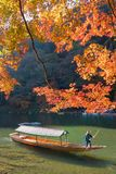 Beautiful nature view of Arashiyama in autumn season along the river. In Kyoto, Japan. Arashiyama is a one of attraction landmark for tourist in Kyoto, Japan Royalty Free Stock Photos
