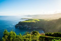 Beautiful nature view on Azores. With small villages, tows, green nature fields stock image