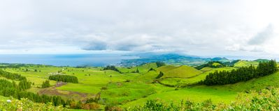 Amazing nature view on Azores. Beautiful nature view on Azores with small villages, tows, green nature fields stock photos