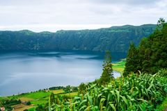 Amazing nature view on Azores. Beautiful nature view on Azores with small villages, tows, green nature fields stock images