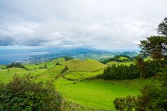 Amazing nature view on Azores. Beautiful nature view on Azores with small villages, tows, green nature fields royalty free stock image