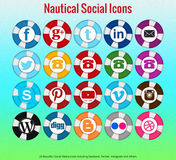 20 Beautiful nautical social media icons. Including facebook, twitter, instagram, youtube and others Royalty Free Stock Image